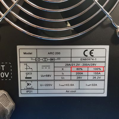 Back of welding machine specifications